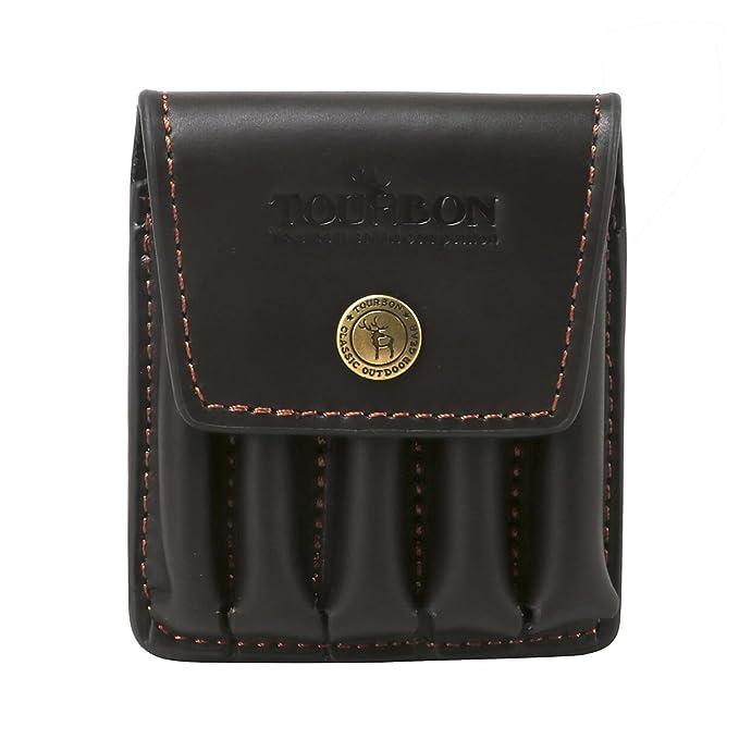 308 WIN Tourbon Carton de carabine en cuir de Cartouche de cartouche de munitions Bandolier avec deux poches 30-06 222 REM