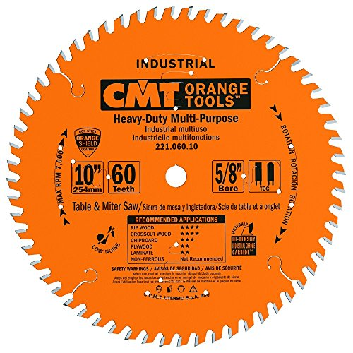 CMT 221.060.10 Industrial Cabinetshop Saw Blade, 10-Inch x 60 Teeth TCG Grind with 5/8-Inch Bore, PTFE Coating