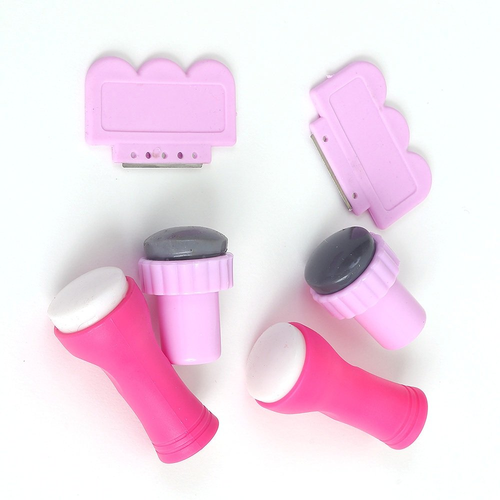 4 Pieces Nail Art Stamper & Scraper Set Tools Super Soft Squishy Silicon Stamper and Plastic Scraper xinrui