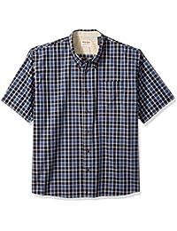 Authentics Men's Big & Tall Short Sleeve Plaid Woven Shirt