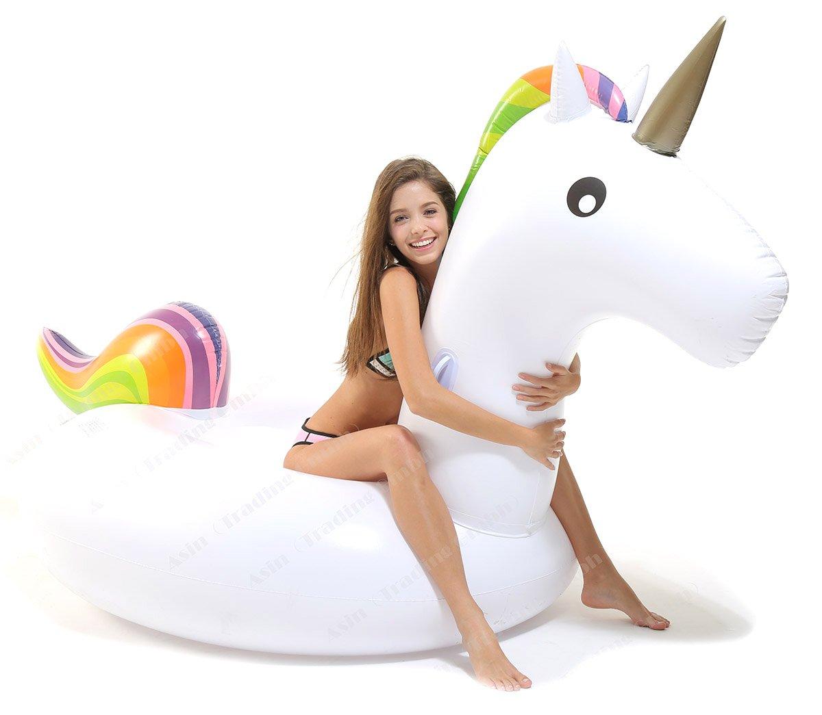 Tante Tina - Flotador Inflable en Forma de Unicornio/Pegasus , tamaño Gigante 240230130cm - Cama Flotante, Juguete de Agua -Blanco/Arco Iris