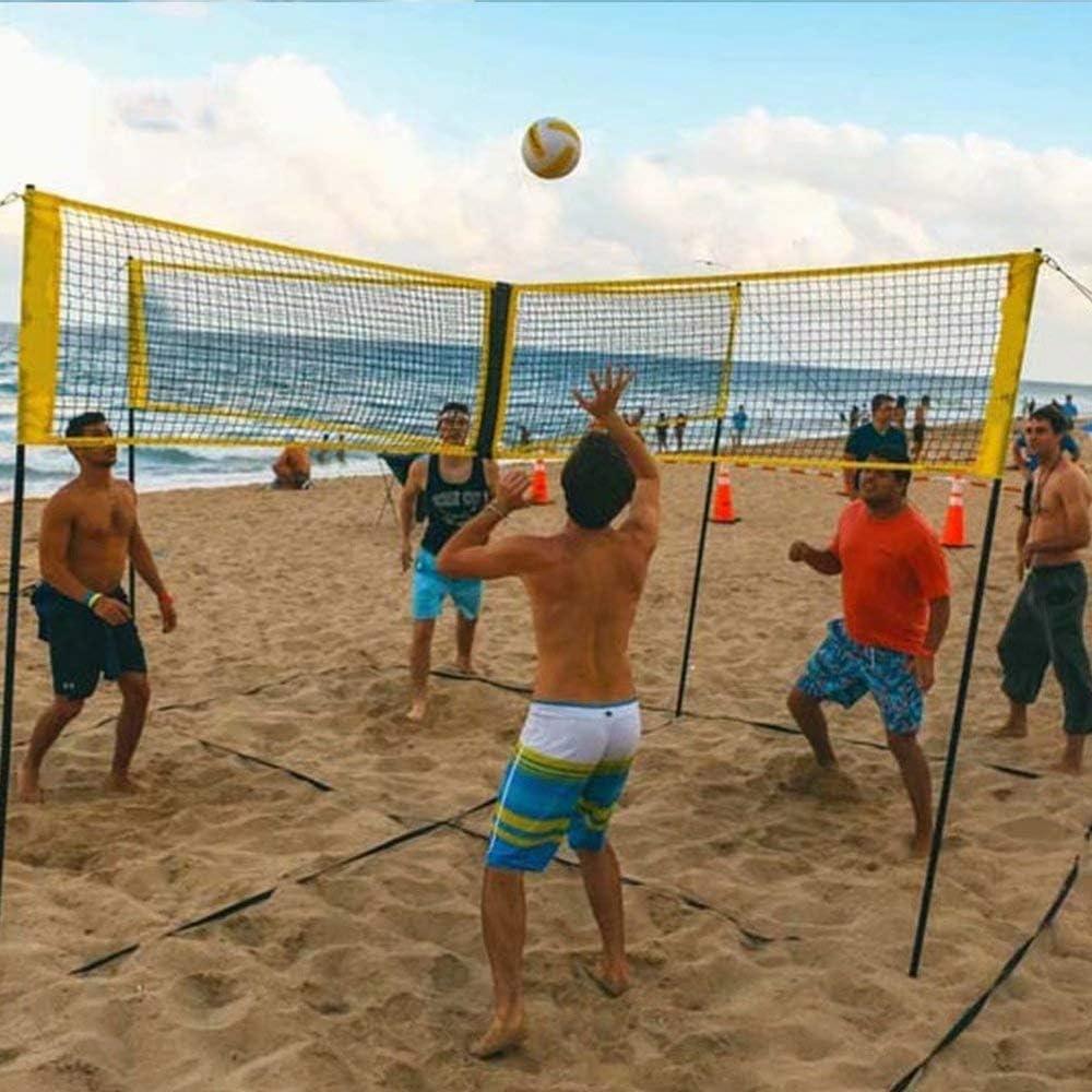 4-seitiges Cross-Volleyballnetz Tragbares professionelles Outdoor-Hinterhof-Volleyballnetz Einstellbares Trainingsnetz Beach-Volleyballnetz
