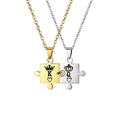 Engraved Couple Pendant (2pcs) Couple-Necklace Matching Set Magnet Love Heart Puzzle Her King His Queen Couple Pendant Necklace Couples Jewelry
