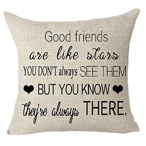 Good Friends Pillow - Best gift to friends good friends are like stars Throw Pillow Cover Cushion Case Cotton Linen Material Decorative 18