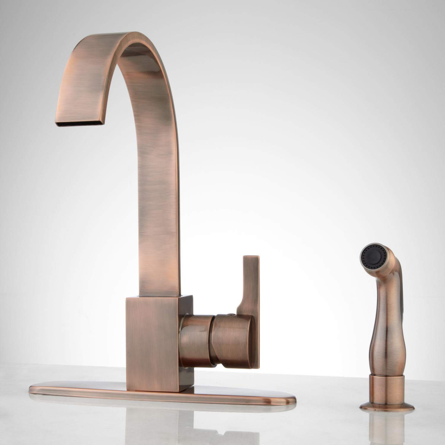 Signature Hardware 368361 Aster 1.8 GPM Kitchen Faucet with Escutcheon Plate and Side Spray