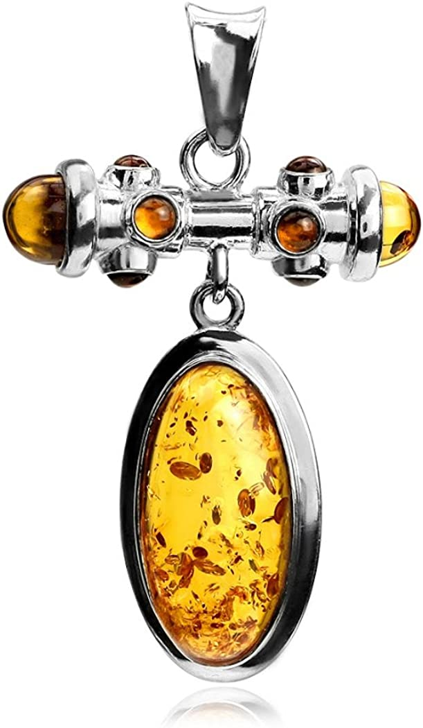 Amber Sterling Silver Round Designer Pendant Necklace Chain 18 Ian and Valeri Co