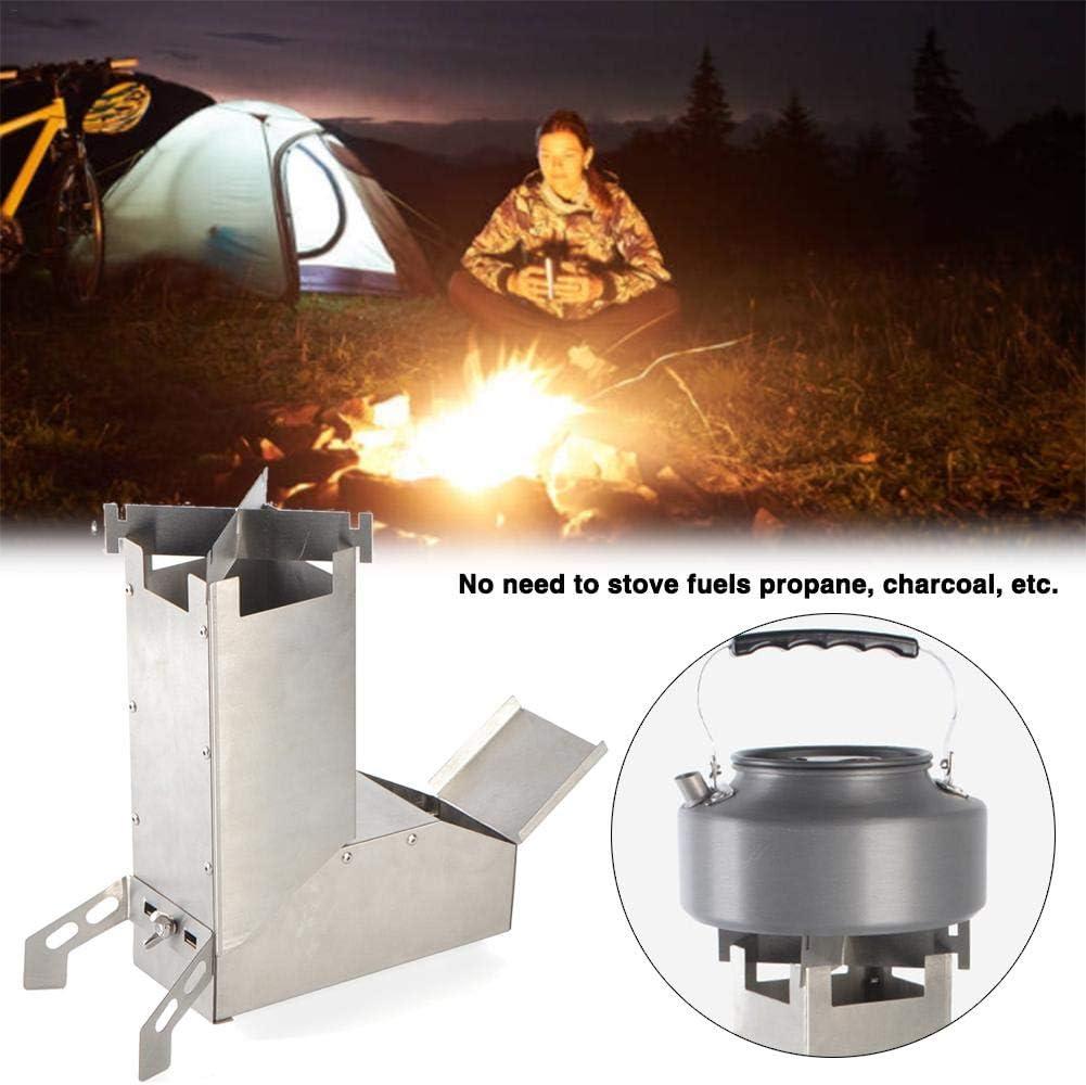 Greatideal - Estufa de raza de camping con mango de camping, equipo de supervivencia, autoportante, estufa de leña para excursiones al aire libre, pícnic de acero inoxidable, fácil de usar