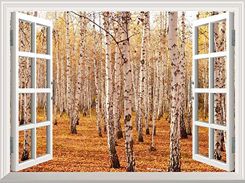 Removable Wall Sticker Wall Mural Autumn Birch Forest Creative Window View Wall Decor