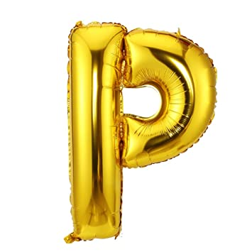 lokipa 40inch jumbo balloon letter of p gold foil mylar balloons for birthday anniversary party celebration