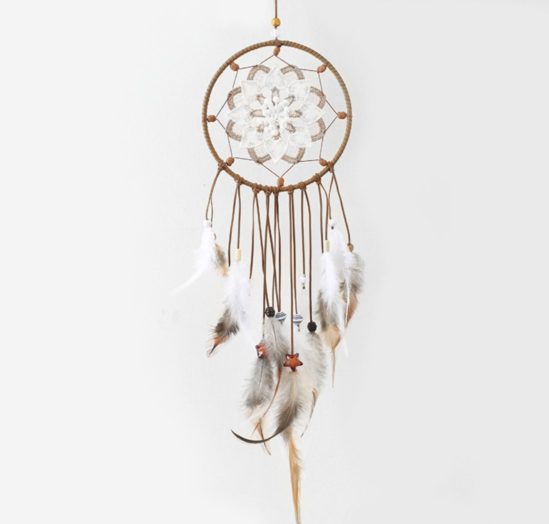 Blocksco Dream Catcher Feather Hanging Ornaments with Dipped Glitter Feathers Bohemian Wedding Decorations, Boho Chic, Nursery Decor Kids Room Decor Dia 6'' Length 24''