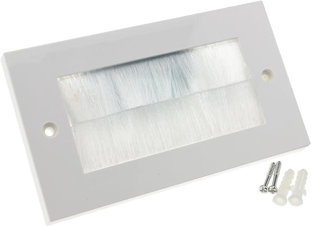 Image ofBlanco Cepillo Placa Frontal Para Cable Exit/Wall Salida UK Doble Grupo Blanco [White Double]