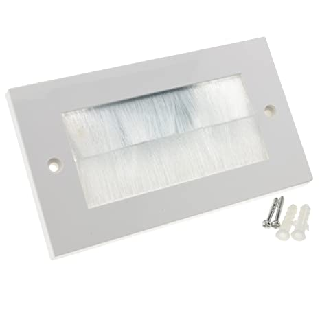Blanco Cepillo Placa Frontal Para Cable Salida Pared Salida UK Doble Grupo Blanco