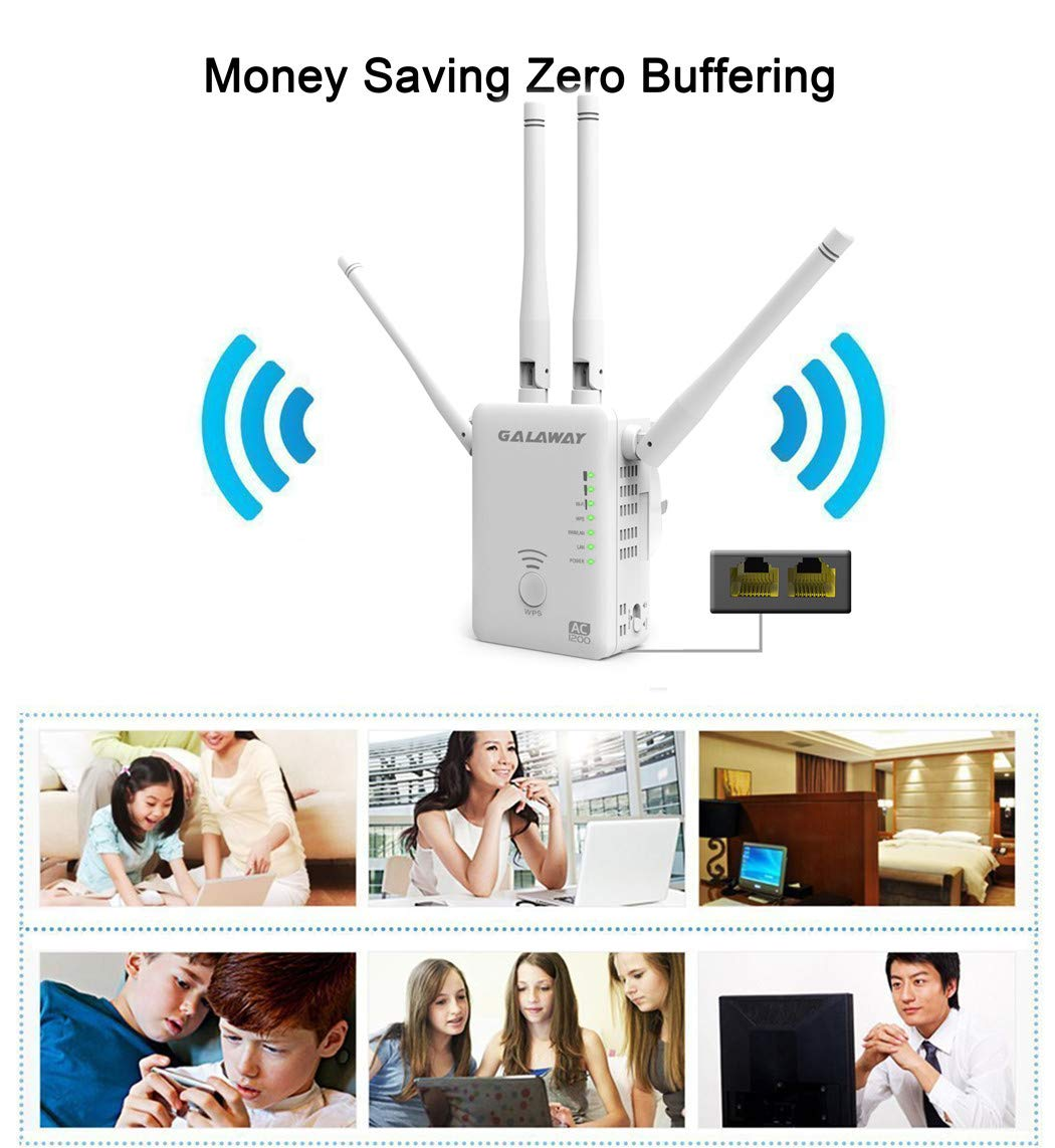 GALAWAY 1200Mbps WiFi Range Extender 2.4GHz and 5GHz Signal Extenders Internet Booster 360 Degree WiFi Booster Signal Amplifier with 4 Antennas (G1200)