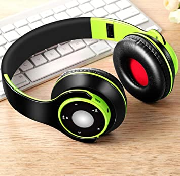 FXMINLHY Auriculares inalámbricos Auriculares y Auriculares Bluetooth para niñas Samsung Sport y Tarjeta SD con micrófono Auriculares estéreo HiFi en el teléfono, Verde: Amazon.es: Electrónica