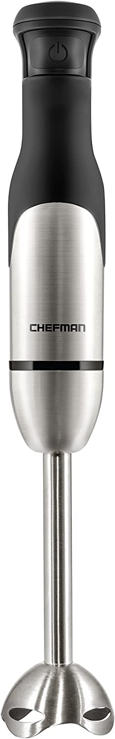 Chefman Electric Immersion Blender 300-Watt Stick Hand-Held Blending w/Simple One Touch Power Control, Pressure Sensitive Multiple Speed Trigger, Detachable Blade, Stainless Steel