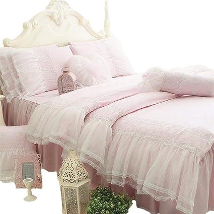 Abreeze 4pcs Romantic Light Pink Princess Bedding Sets Korean Style Bedding  Sets 100% Cotton Bed Skirt Lace Flouncing Duvet Cover Set Girls Fairy ...