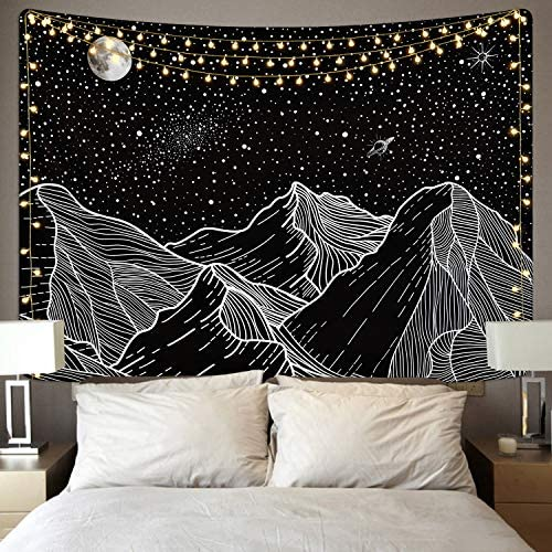 Mountain Tapestry Moon and Star Tapestries Starry Night Sky Tapestry Galaxy Space Tapestry Black and White Tapestry for Room 70.9 x 92.5 inches