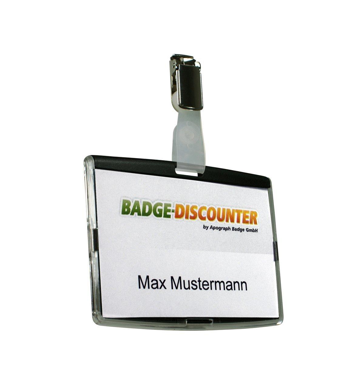10 porta badge plastica rigida NCSH Blu badge holder orizzontale porta nome di identificazione portabadge rigido portanome chiudibile ottimo per uso aziendale ufficio o per dipendenti