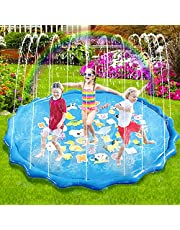 Sunshine smile Splash Pad Waterspeelmat, 170 cm, Splash Play Mat, Splash Pad Waterspeelgoed, Waterspeelmat, Essentieel voor zomer, tuin, waterspeelgoed, waterspeelmat, antislip