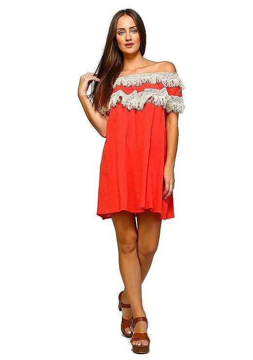 17ea7339eda3 Velzera Women's Off The Shoulder Fringe Tunic Mini Dress Boho Chic Reg & Plus  Size at Amazon Women's Clothing store: