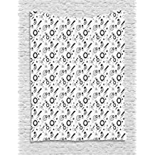 Ambesonne Geometric Tapestry by, Pattern in Postmodern Memphis Style Different Shapes Scattered on White, Wall Hanging for Bedroom Living Room Dorm, 40 W X 60 L Inches, Grey Black White