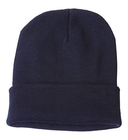 Blank Long Cuff Beanie - Navy Blue at Amazon Men s Clothing store ... 3d068566280
