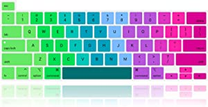 MMDW English Silicone Keyboard Cover Skin for MacBook Pro 16 inch A2141 2019+,for MacBook Pro 13 with Magic Keyboard &for MacBook Pro M1 Chip A2338/A2251/A2289 2020+ US Version,Rainbow Colorful