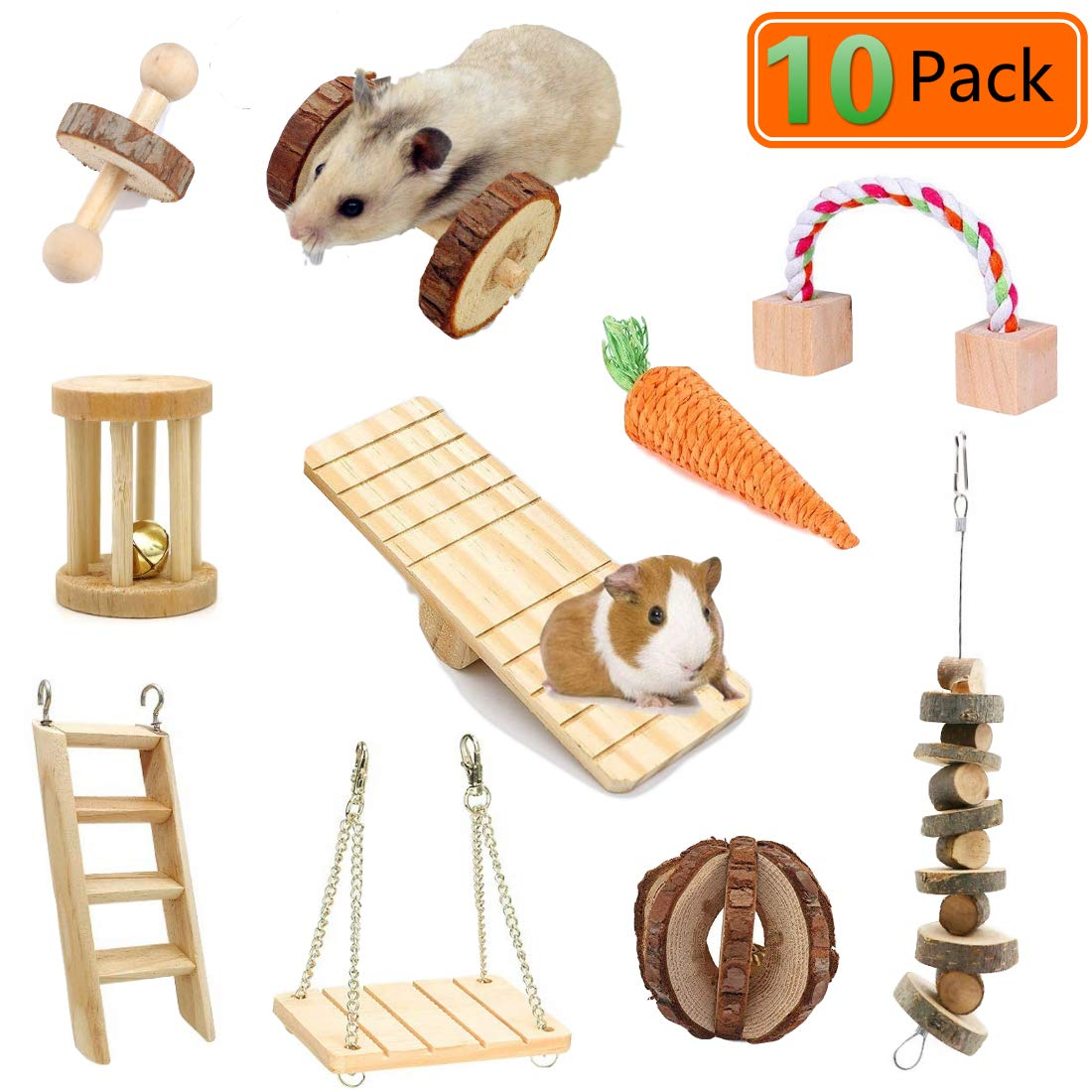 JEMPET Hamster Chew Toys, Natural Wooden Pine Guinea Pigs Rats Chinchillas Toys Accessories, Dumbbells Exercise Ball Roller Teeth Care Molar Toy for Birds Bunny Rabbits Gerbils (10 Pack)