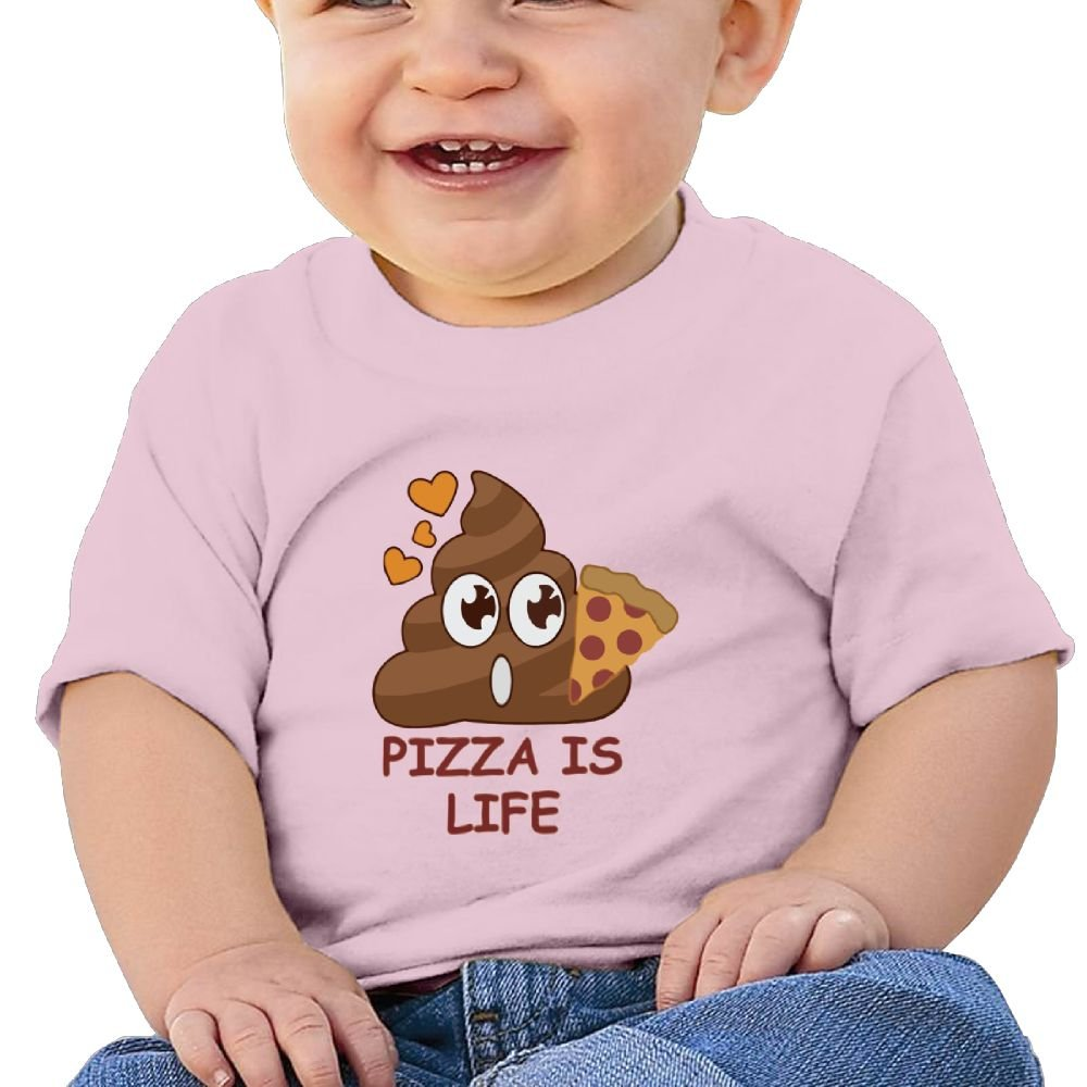 REBELN Pizza Is Poop Life Cotton Short Sleeve T Shirts For Baby Toddler Infant