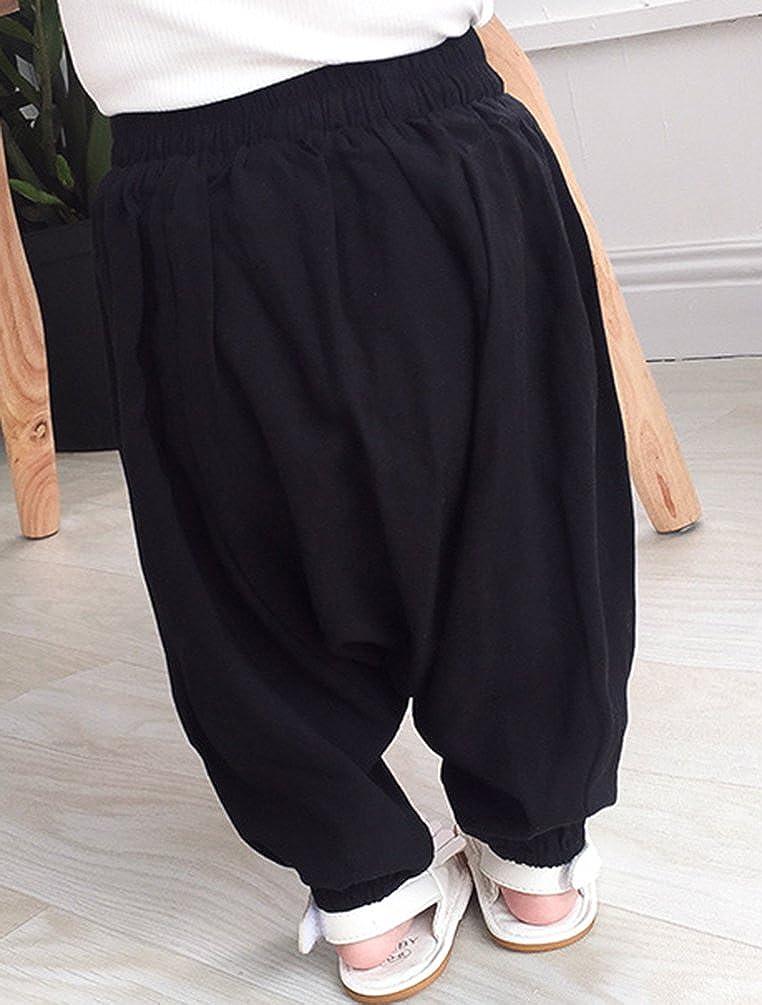 Byqny Suaves S/ólido Pantalones Harem Cintura Alforzada Bohemio Aladdin Verano Trajes Ropa Ni/ños Ni/ñas Beb/é 1-3 A/ños de Edad