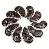 10pcs/set Leather Golf Iron Head Covers Headcover For Titleist, Ping, Taylormade, Cobra, Nike, Etc