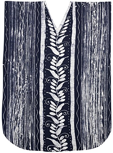 LA LEELA Cotton Batik Long Caftan Vacation Top Navy Blue_208 OSFM 14-18W [L-2X] by La Leela