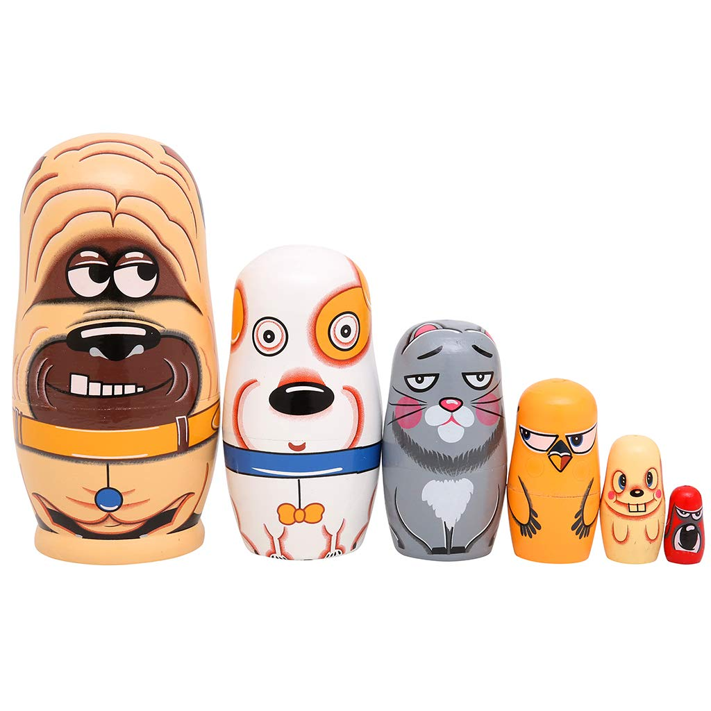 Moonmo 6pcs Handmade Wooden Russian Nesting Dolls Russian Nesting Dolls Cute Dogs Matryoshka Dolls. by Moonmo (Image #2)