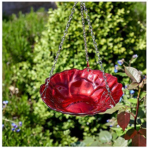 Smart Garden Hand Painted Finish Hanging Glass Poppy Rose Feeder/Birdbath