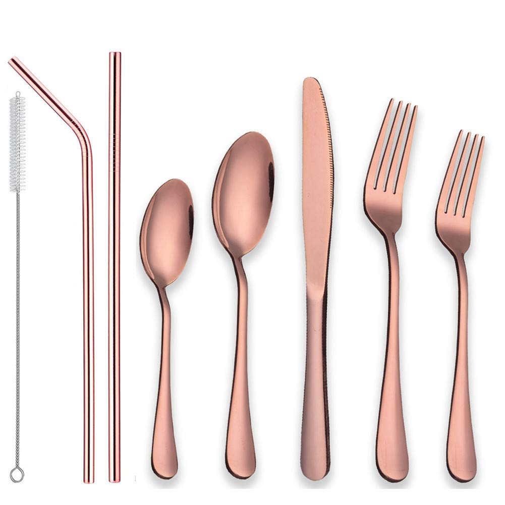 Stainless Steel Flatware Set with Reusable Metal Straws, Eco-Friendly 7 Pieces Knife Fork Spoon Straws, Portable Travel Silverware Set, Travel Camping Cutlery Set, Dishwasher Safe(Rose gold)