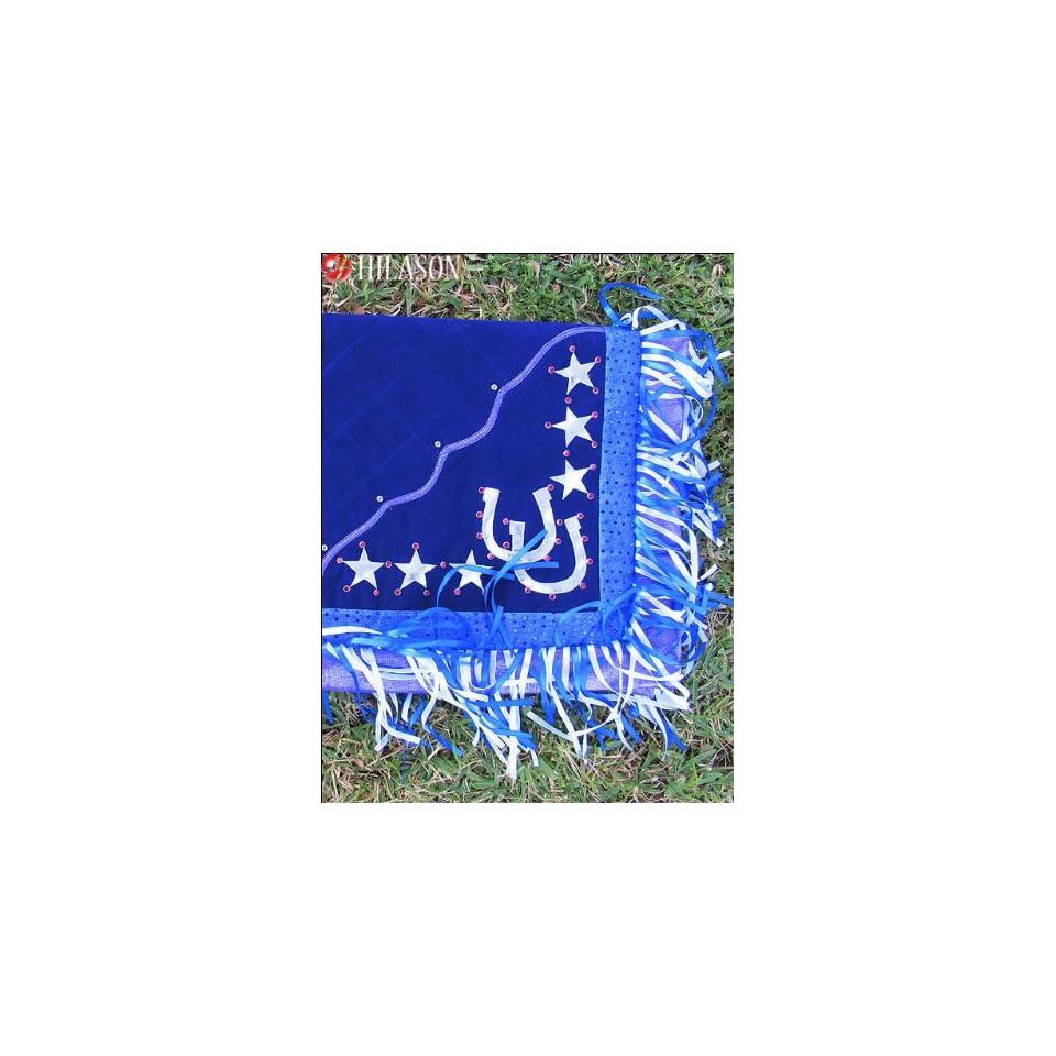 Blanket Dark Blue Body Glittering Blue Border Horse Shoes & Star Design White And Blue Fringes