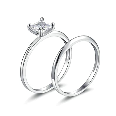 5f1630d369b4a Amazon.com: Aooaz Ring for Wedding Silver Material Ring Square Stone ...