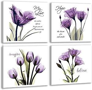 Sweety Decor Canvas Wall Art Purple Flower for Home Bathroom Decor