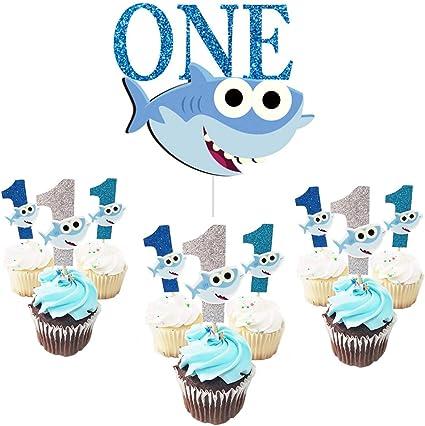 Awesome One Birthday Cake Topper With1St Cupcake Toppers Shark Birthday Funny Birthday Cards Online Inifofree Goldxyz