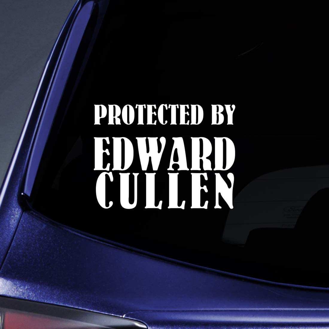 "Bargain Max Decals - Protected by Edward Cullen Twlight New Moon Sticker Decal Notebook Car Laptop 8"" (White)"