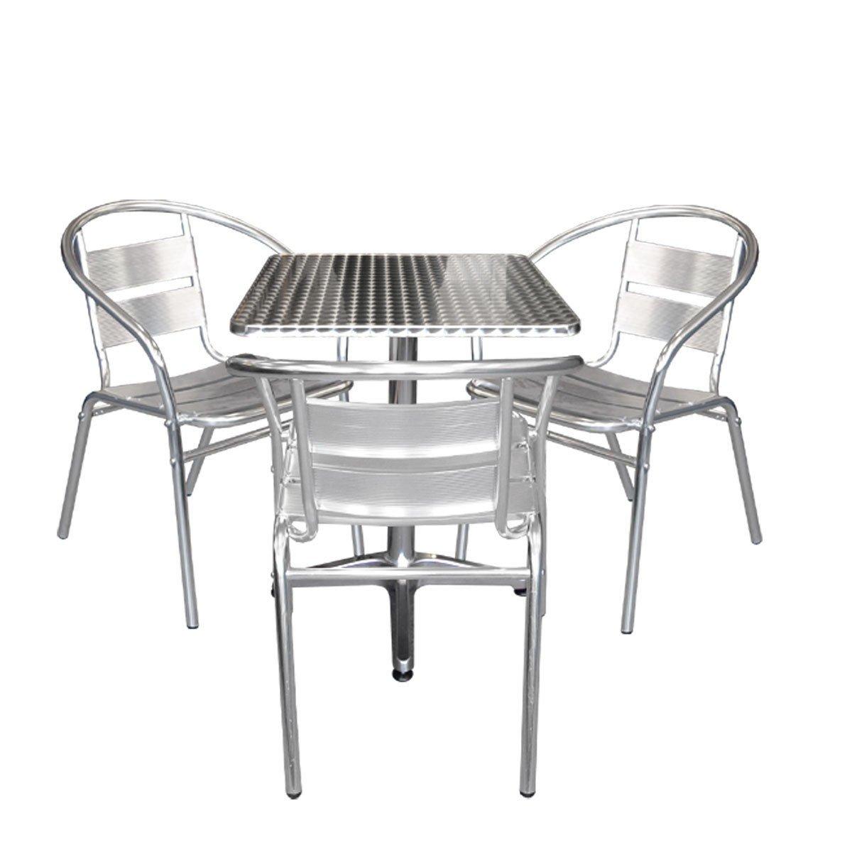4tlg. Aluminium Bistro-Set Balkonmöbel Stapelstuhl günstig online kaufen