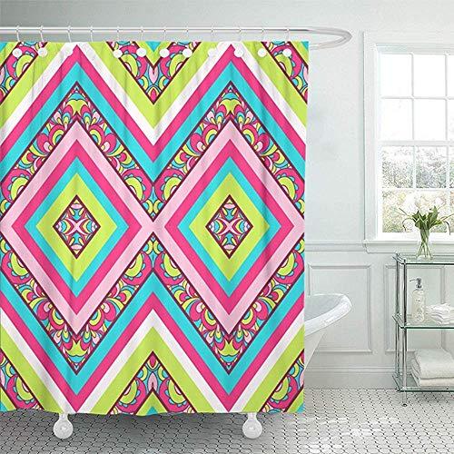 Starolal 72x72 Shower Curtain Waterproof Missoni Colorful Zig Zag Pattern Aztec Ikat Tribal Abstract American Chevron Home Decor Polyester Fabric