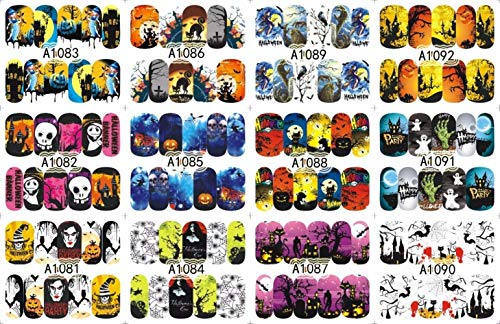 (12 PACK/LOT WATER DECAL NAIL ART NAIL STICKER SLIDER TATTOO FULL COVER HALLOWEEN WITCH BLACK CAT)