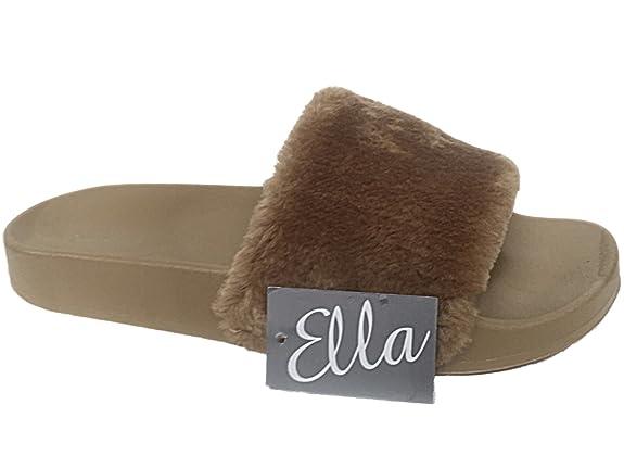 Damen Flach Pelz Slide Flip Flops Sandalen Zehentrenner Hausschuhe Pantoffeln Größe