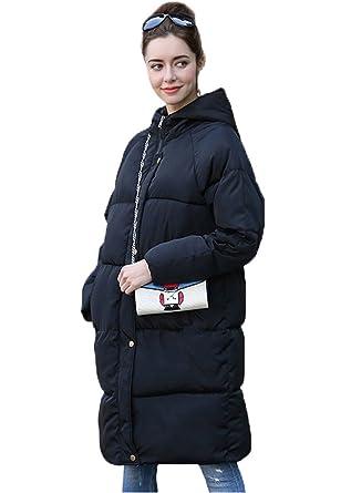 9d13c83ffbb3b COMVIP Women Hooded Plus Size Quilted Korean Knee Jacket Puffer Coat Black S
