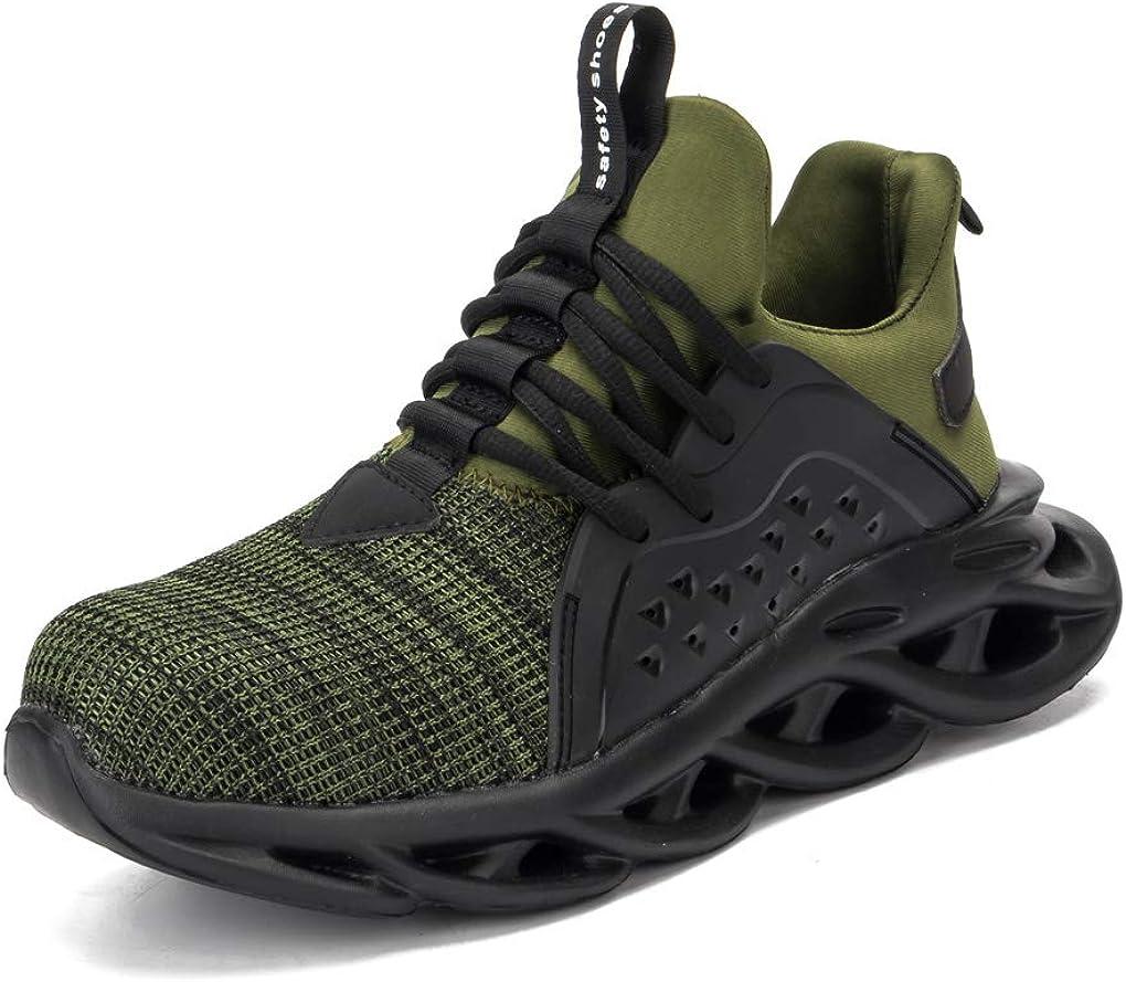 SHOPAMZ Zapatos de trabajo Antideslizante Hombres con Puntera de Acero Zapatos de Seguridad para Comodas Zapatos de Industria y Construcci/ón