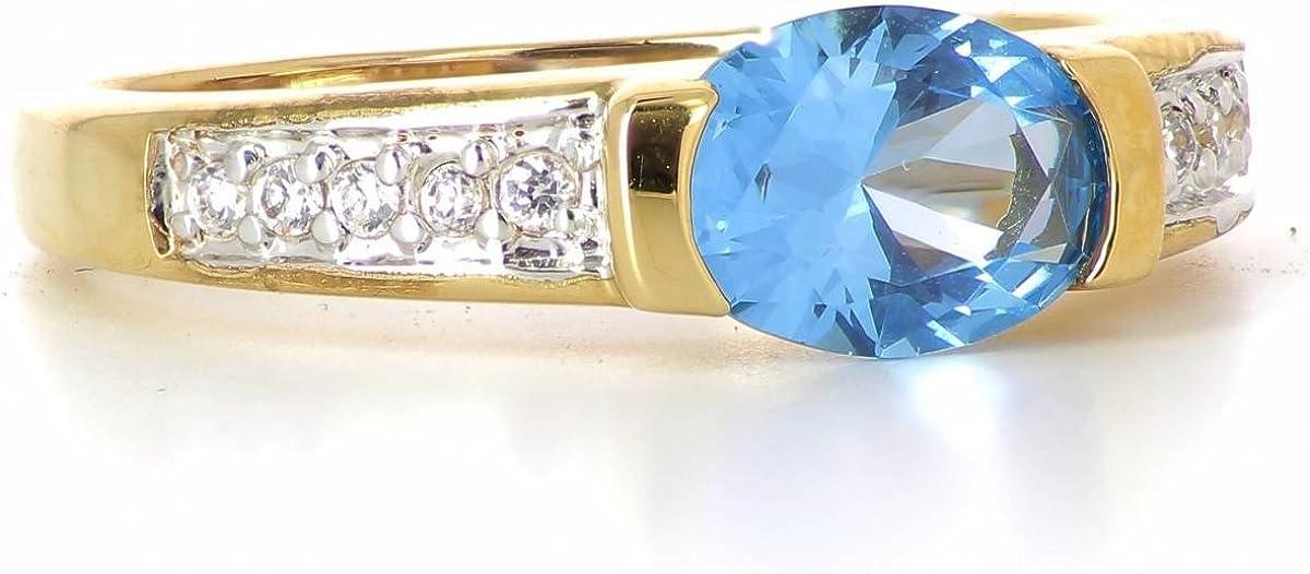 Plaqu/é Or 750//000 ISADY Elfie Gold Bague Femme - Oxyde de zirconium transparent et bleu 18 carats
