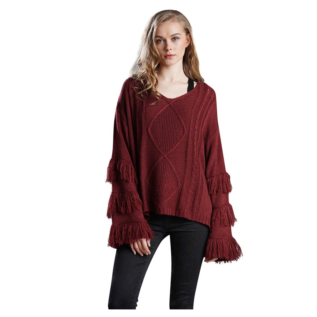 Shusuen Women's Knitwear Pullover V Neck Flared Tassel Sleeve Side Slit Knit Cable Sweater Wine by Shusuen_Clothes