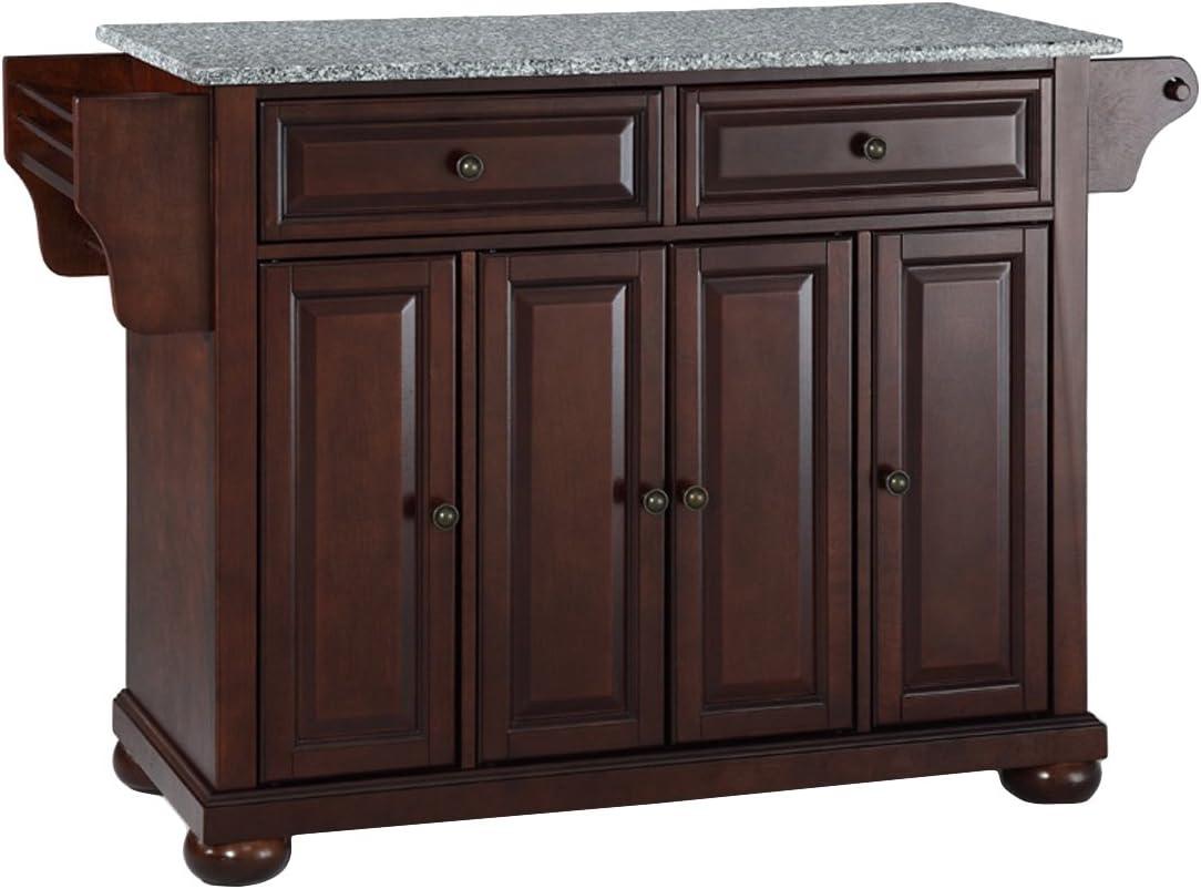 Crosley Furniture Alexandria Full Size Kitchen Island with Solid Gray Granite Top, Mahogany