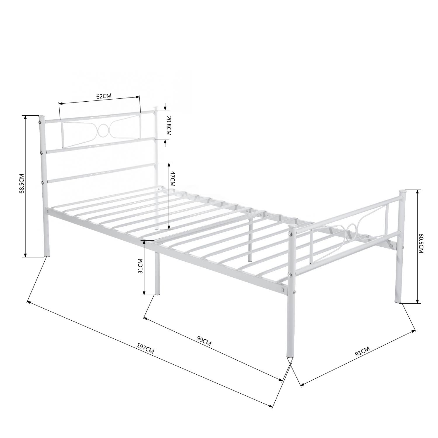 white GIME Twin Bed Frame Yanni LESILE Easy Set-up Premium Metal Platform Mattress Foundation//Box Spring Replacement with Headboard and Footboard Under-bed Storage Enhanced Sturdy Slats